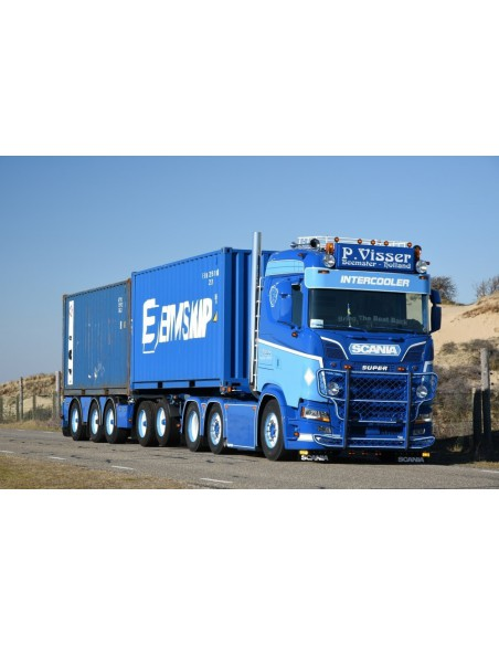 Scania S-serie met 5-assig container chassis met 2 CMA CGM 20ft. containers - Visser P.