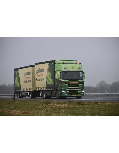 Scania NG R-serie Highline rigid truck with trailer and Moffet forklift truck - Jonkman